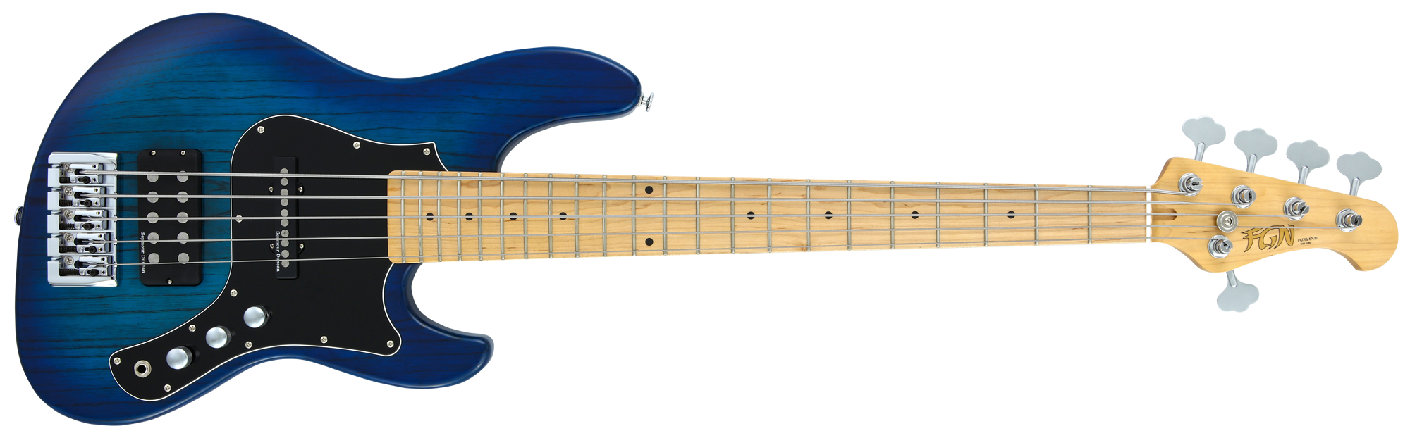 FGN Bassgitarre, J-Standard Mighty Jazz, See-through Blue Burst, 5-Sai