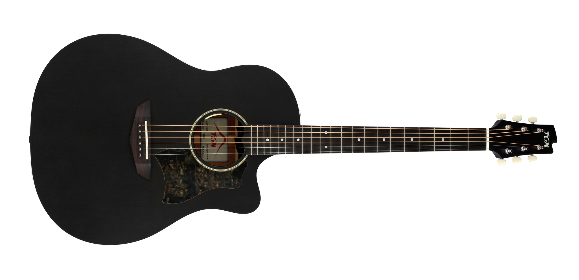 FGN Westerngitarre, AG1E, Transparent Black Flat, Preamp, Tasche