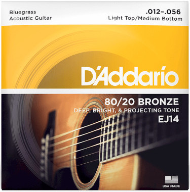 D'Addario  EJ14 80/20 Bronze Light Top/Medium Bottom/Bluegrass 12-56