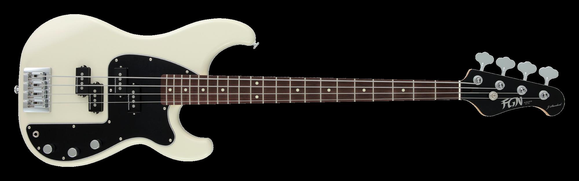 FGN Bassgitarre, J-Standard Mighty Power, Vintage White, Tasche