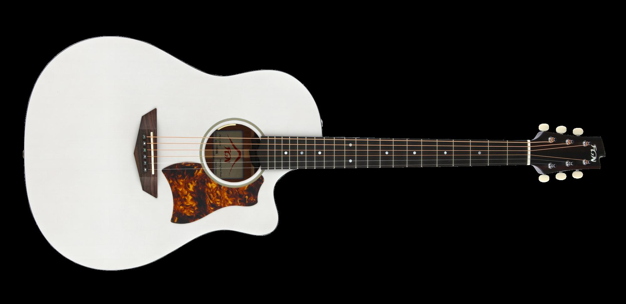 FGN Westerngitarre, AG1E, Transparent White Flat, Preamp, Tasche